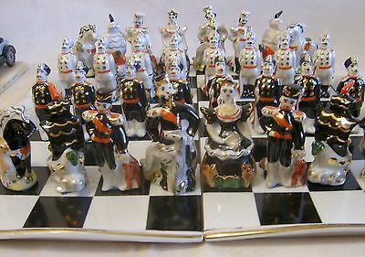 Vintage Russian Figural Chess Set Hand Painted Gold Porcelain 32 P Board 1970-80
