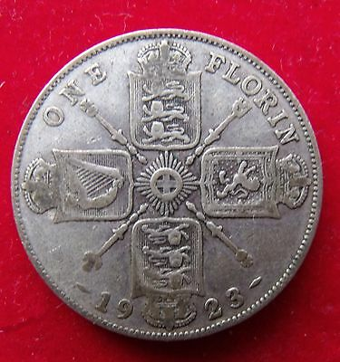 1923 Two Shillings Florin 2/- British coin George V .500 Silver about F