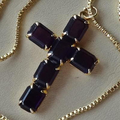 Vintage Amethyst Glass Stone Cross Pendant Necklace