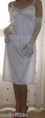 Vintage Charnos silky nylon lace white full slip~chemise~nightie~gown size 14