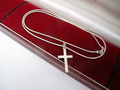 925 Sterling Silver Cross Pendant 16 inch Snake Chain Necklace Religion Faith