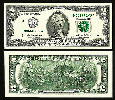 Usa Us 2 Dollar 2009 Unc Series D ( Cleveland , Oh ) P.new