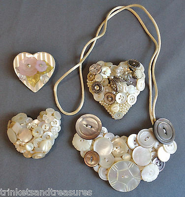 Lot of Jewelry Hand Made with Old Mother of Pearl Buttons Necklace Pins Brooches