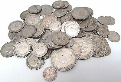 George V & George VI Mixed Denomination Pre 1947 Silver Circulated Coins - 400g