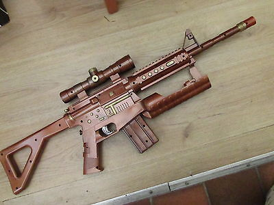 STEAMPUNK adapted sniper rifle large with sounds + extras larp cosplay MAD LAB