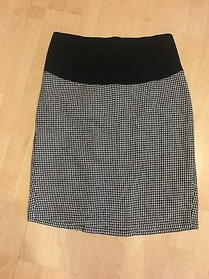 JOJO MATERNITY Smart Dogtooth Tailored Knee Length Skirt 16 GREAT CONDITION