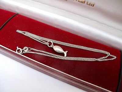 925 Sterling Silver FISH Pendant & 16.25 inch Chain Necklace Not Scrap FISHING