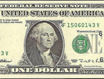 Unc 1995 $1 Dollar Bill Misaligned Overprint Error Fed Note Currency Paper Money