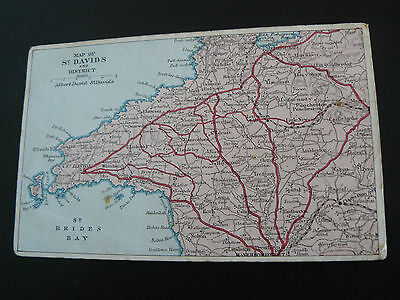 Map of St Davids and District Postcard by A David of St Davids - Pembrokeshire