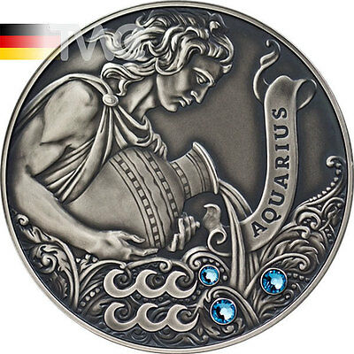 Belarus 2013 20 rubles Signs of the zodiac AQUARIUS Antique finish Silver Coin