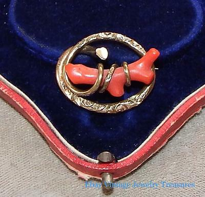 Antique Victorian Branch Coral Gold Filled Pin Estate Find