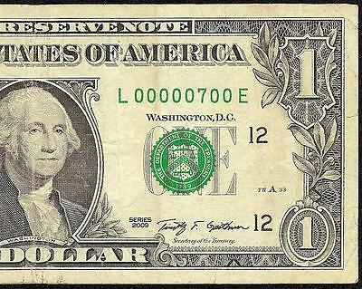 2009 $1 Serial Number 700 Seven Hundred One Dollar Bill Frn Note Paper Money