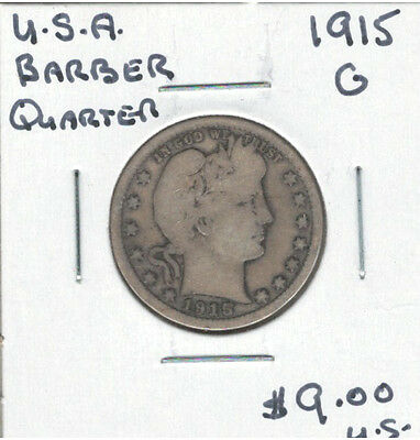 United States USA 1915 Quarter 25 Cents G Barber