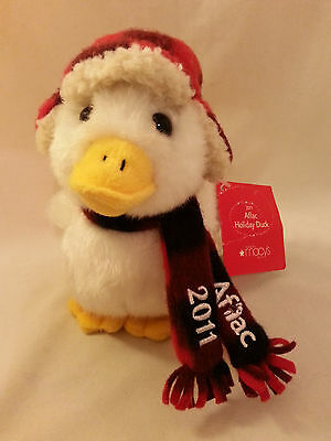 """Aflac 6"""" Talking Duck Plaid Hat & Scarf 2011 Macys Holiday Collectible w/Tags"""