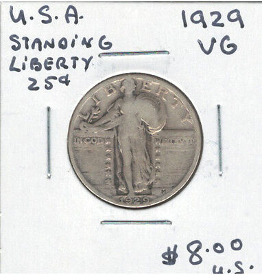 United States USA 1929 Quarter 25 Cents VG Standing Liberty