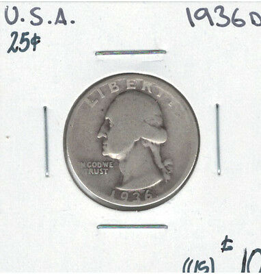 United States USA 1936D Quarter 25 Cents Washington