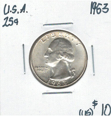 United States USA 1963 Quarter 25 Cents Washington Lot#2