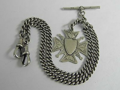 A Fine Solid Sterling Silver Double Albert Pocket Watch Chain & Silver Fob 1914