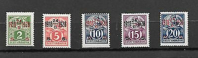 Estonia Stamps  1928 Complete Set 5 M/h 10Th Anniv Of Independence