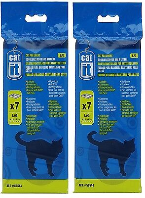 Catit Cat  Pan Litter Tray Liner  Large  Xl 2 X 7  Pack Biodegradable 50544