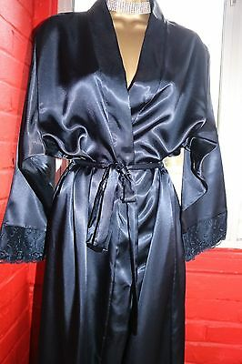 Camille Collection Embroidered Lace Trimmed Sleeves Glossy Dressing Gown Robe