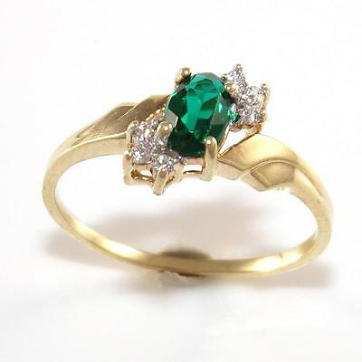 10K Yellow Gold Green Emerald Diamond Accent Band Ring Size 7 QR1
