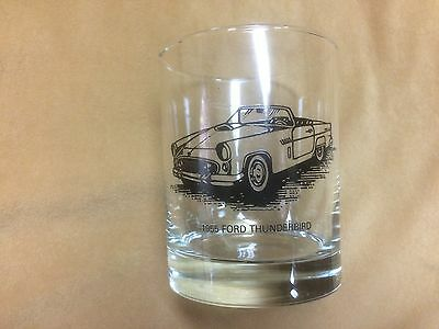 1955 Ford Thunderbird, vintage Libbey Sunoco drinking glass or tumbler