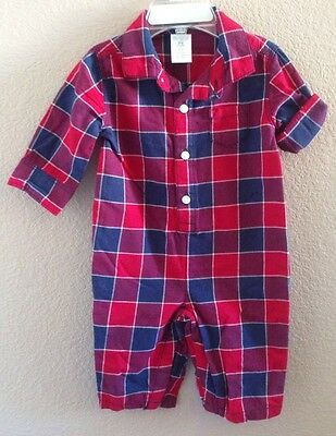 Nwt Gymboree Baby Boys Size 0-3 Months Red And Blue One Piece Romper