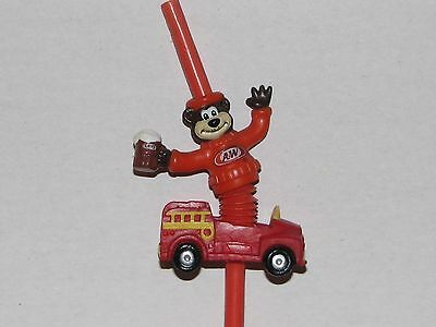 Vintage A & W Root beer Straw with Rooty The Bear and Fire Engine Scarce 1970's