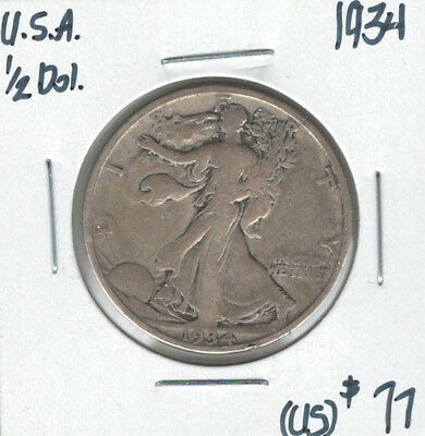 United States USA 1934 Silver 50 Cents Walking Liberty