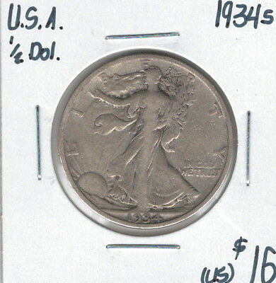 United States USA 1934s Silver 50 Cents Walking Liberty