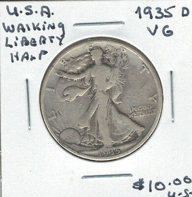 United States USA 1935D Silver 50 Cents VG Walking Liberty
