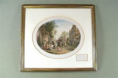 Framed antique coloured print Please remember the grotto street scene Baxter
