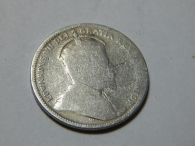 1903 Canada Sterling Silver 25 Cent Coin - Better Date