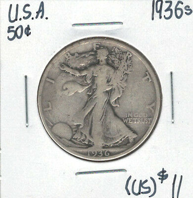 United States USA 1936s Silver 50 Cents Walking Liberty