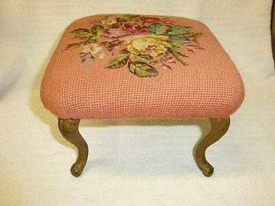 Antique Victorian Needlepoint Foot Stool PINK ROSES Curved Metal Legs Footstool