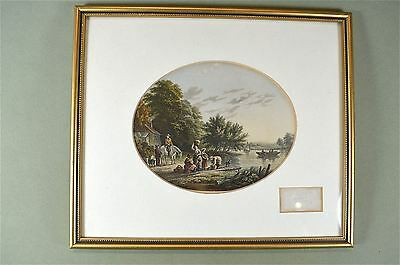 Framed antique coloured print waiting at the ferry country scene Baxter