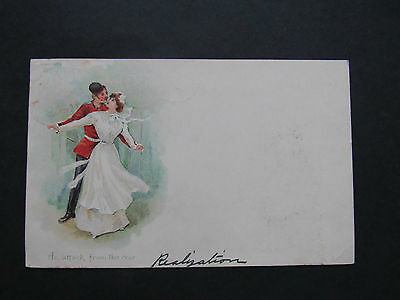 Very Old Postcard. Soldier 'an attack from the rear'   Written & Posted 1903