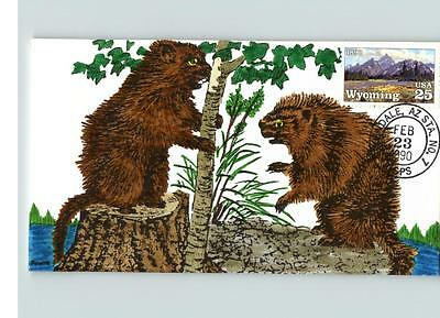 WYOMING Statehood, Hand Painted two BEAVERS, 1990 First Day of Issue