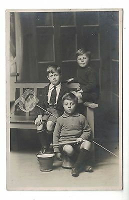 Real Photo Postcard Three Brothers Going Fishing