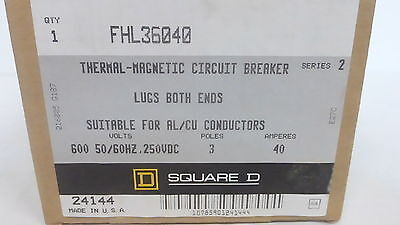 Square D Fhl36040 *new* Thermal-Magnetic Circuit Breaker 40A 3P 600Vac (1G0)