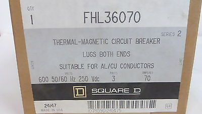 Square D Fhl36070 *new* Thermal-Magnetic Circuit Breaker 70A 3P 600Vac (1G0)
