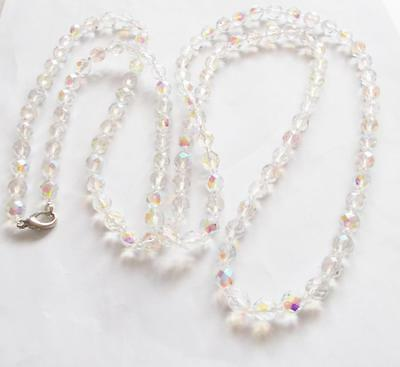 Vintage 70's Extra Long Aurora Borealis Glass Crystal Beaded Necklace Beads
