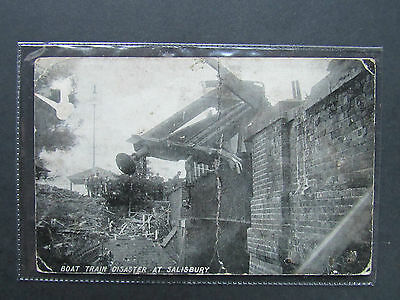 1906 POSTCARD RP Boat Train Disaster at Salisbury Wiltshire. Posted Newton Abbot