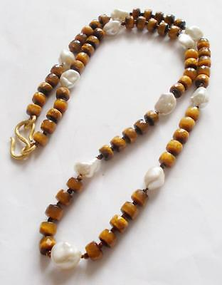 Vintage 70's Genuine Tigers Eye Stone & Glass Pearl Beads Beaded Necklace