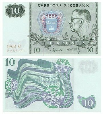 Ten Crowns Swedish banknote issued in 1968 G aunc