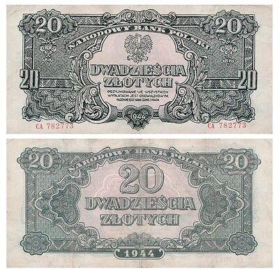2o Zlots Polish banknote issued in 1944 CA vf