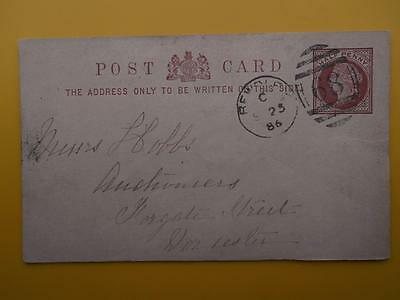 BEWDLEY Duplex Postmark 1886 Queen Victoria Postal Stationery Card to Worcester