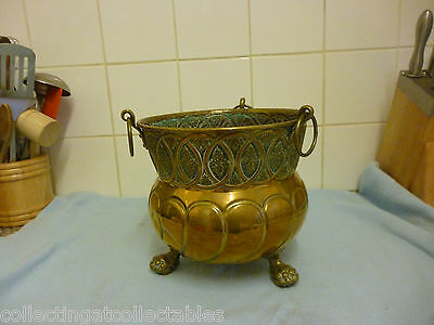 Antique Brass Claw And Ball Jardiniere / Planter