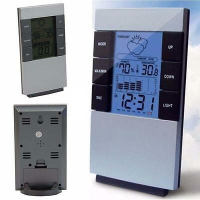 Digital Thermometer Humidity Meter Room Temperature Indoor Hygrometer Clock CA